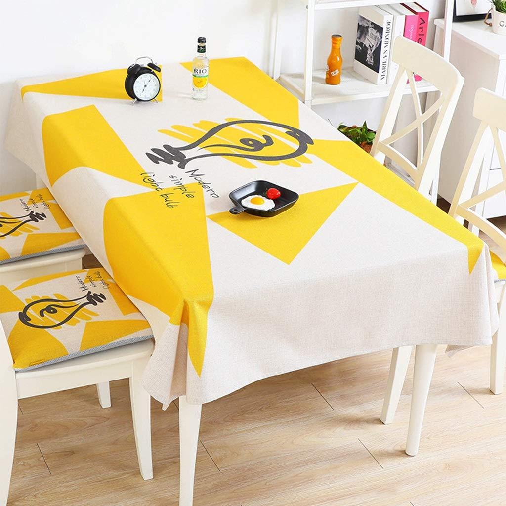 Xuping shop 黄色の丈夫な綿とリネンのテーブルクロス長方形/褪色しないウェアラブル家族のテーブルクロス (サイズ さいず : 140cm×200cm) 140cm×200cm  B07SBZ2QFJ