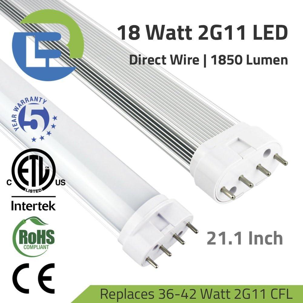 18 Watt 2G11 LED 4-Pin Direct Wire PLL Retrofit Tube 4000K