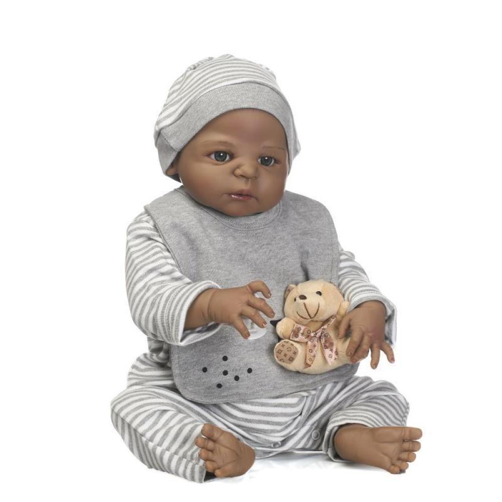 GUOHONG-CX Simulación Renacimiento Muñeca De Silicona Linda Piel Negra Bebé Agua Juguetes Niños Regalo Creativo 56CM