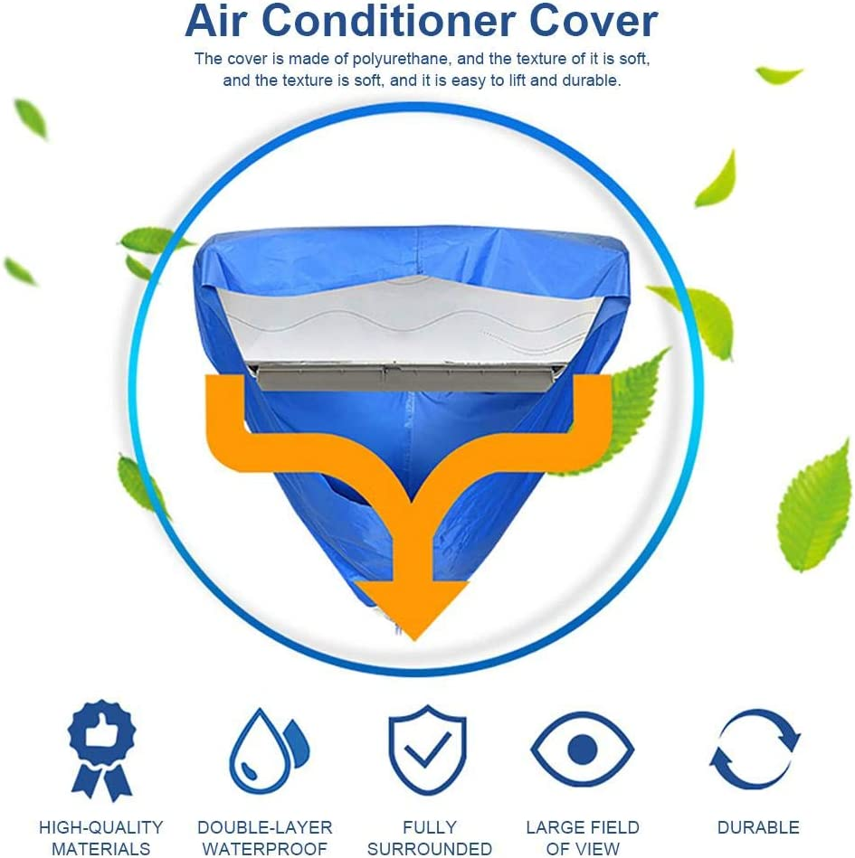 Air Conditioner Cleaning Cover, PVC AC Cleaning Cover Waterproof Cover, with 3 Meters Drain Pipe Small