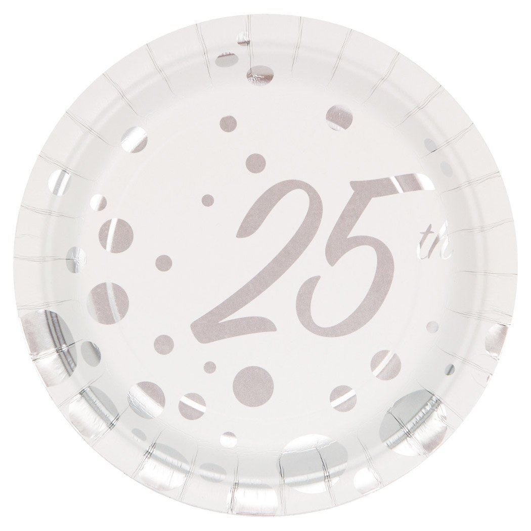 Creative Converting 8-Count 7-Inch Paper Dessert Plates, Foil, 25th Anniversary, Sparkle and Shine Silver, 7 Inches 317848