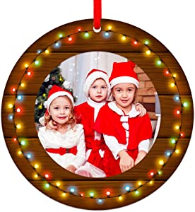 """SICOHOME Our First Christmas in Our New Home 2020,3"""" Personalized Home Christmas Photo Frame Ornament,New House Ornament 2020,Housewarming Gift for Xmas Tree Decoration"""
