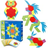 Coogam Wooden Pattern Blocks Set 130PCS Geometric Manipulative Shape Puzzle – Graphical Early Educational Montessori Tangram Toys Brain Teasers STEM Gift for Kids with 24 Pcs Design Cards