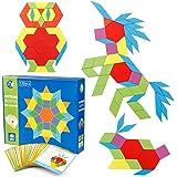 Coogam 130-delige houten patroonblokken Set geometrische manipulatieve vorm puzzel - grafisch vroeg educatief Montessori Tangram-speelgoed Brain Teasers STEM-cadeau voor kinderen met 24-delige ontwerpkaarten