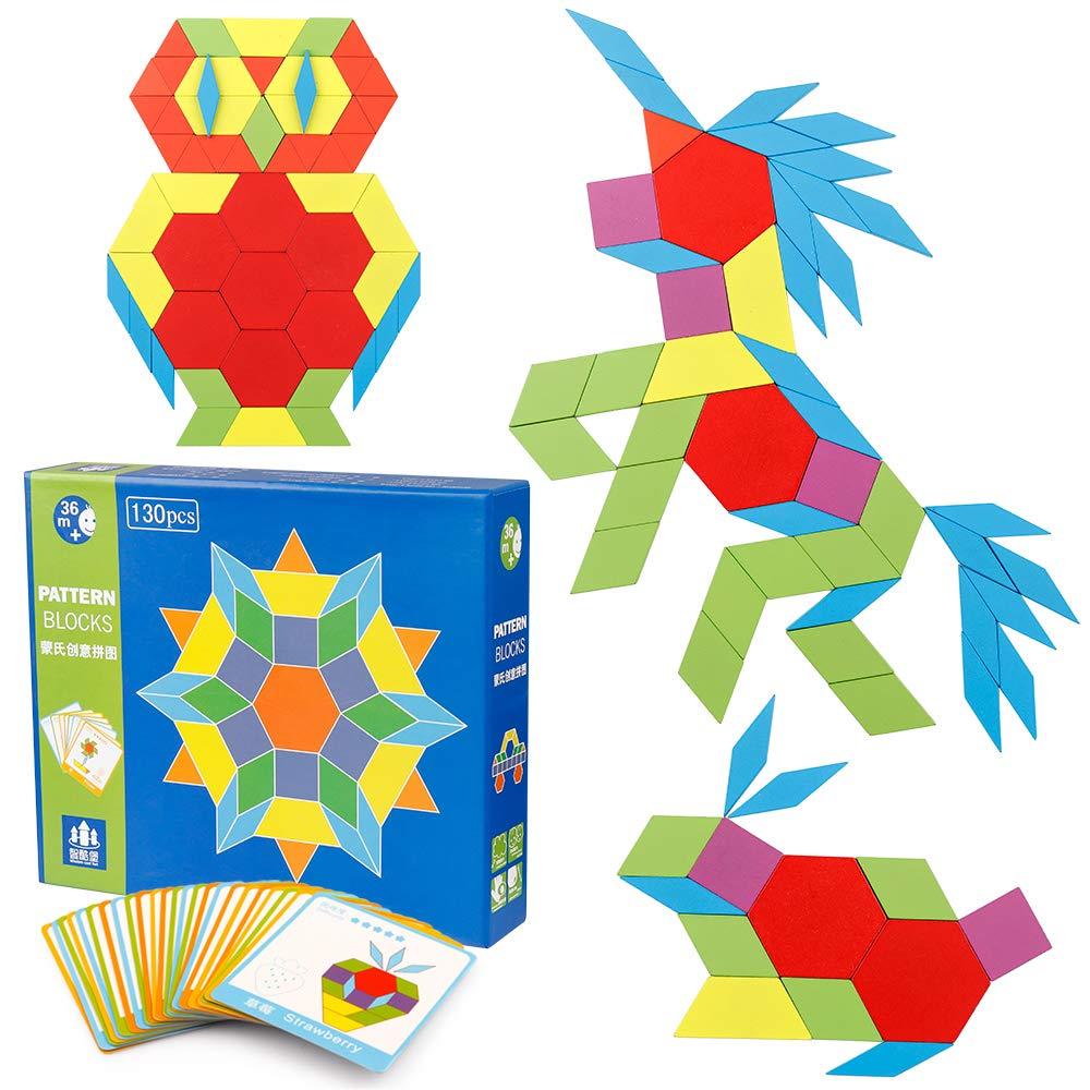 Coogam 130 Pcs mod/èle en Bois Blocs Set g/éom/étrique Forme de Manipulation Puzzle Graphiques Tangram Jouets Casse-t/ête STEM Cadeau pour Les Enfants avec 24 Cartes de Conception Pcs
