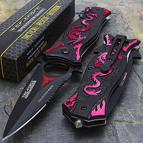 """NEW! 8"""" TAC FORCE RED DRAGON SPRING ASSISTED TACTICAL FOLDING KNIFE Blade Pocket Open"""
