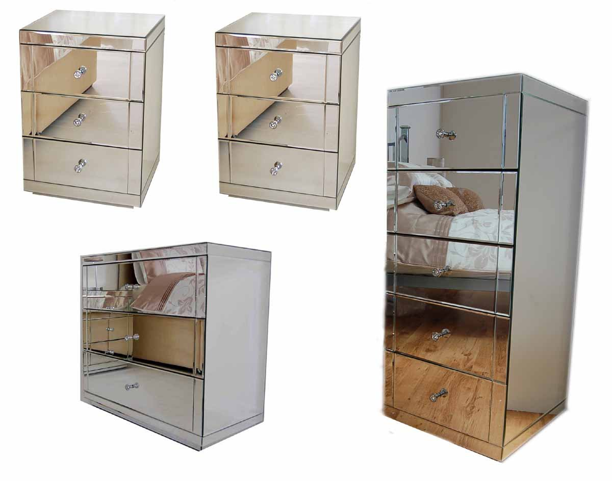 myfurniture mirrored bedroom furniture package 3 draw low chest 2 bedside tables u0026 tallboy amazoncouk kitchen u0026 home