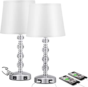 Acaxin 17'' Cute Crystal Table Bedside Lamp Set of 2 with 2 USB Charging Ports, 3 Way Dimmable, Silver and White, Touch Control Nightstand Lamp, Small Bed Lamp for Bedroom, Guest Room(Bulb Included)