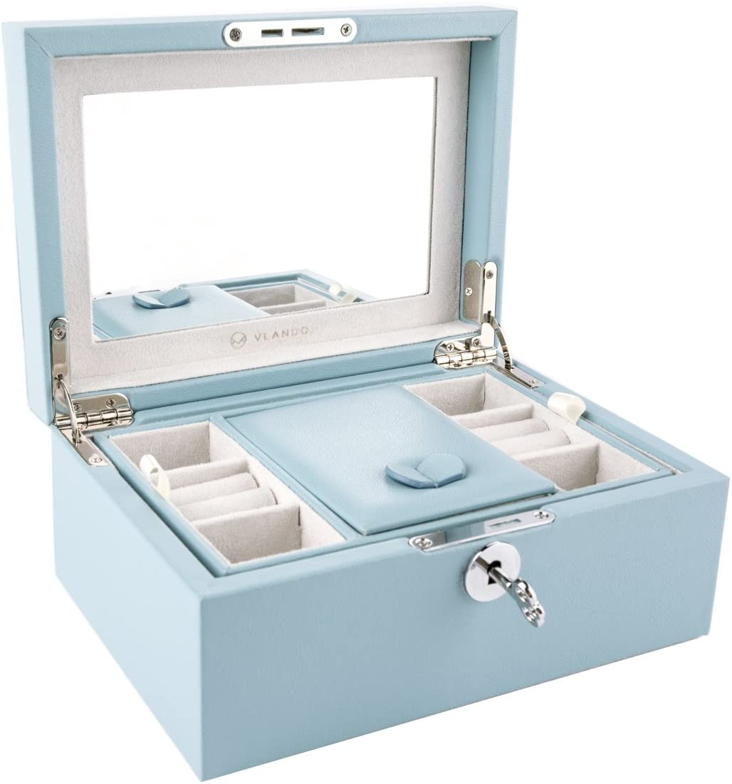 Vlando Retro Lockable Wooden Jewelry Box Organizer, Large Mirrored Jewelries Storage Holder with Key - Microfiber PU Leather Case - Best Gifts for Women Girls, Air Blue