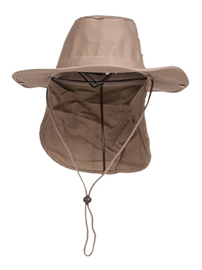TOP HEADWEAR Safari Explorer Bucket Hat With Flap Neck Cover - Khaki - Small b17ee6bf29e5