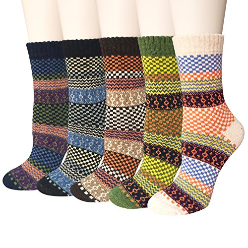 Womens 5 Pairs Vintage Style Winter Warm Wool Thick Knit Crew Socks by - Print Socks Argyle
