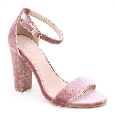 99b0b1db52d4 New Brieten Women s Velvet Ankle Strap Chunky High Heel Dress Saandals  (7.5