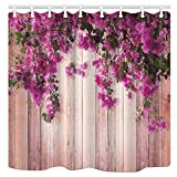 Pink and Purple Shower Curtain DYNH Board Shower Curtains, Pink Wooden Board and Purple Rose Flower Bath Curtain, Polyester Fabric Bathroom Curtain with 12 Hooks, 69X70 Inches