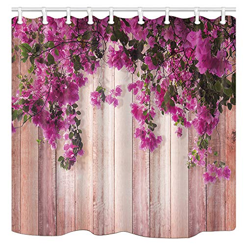 DYNH Board Shower Curtains, Pink Wooden Board and Purple Rose Flower Bath Curtain, Polyester Fabric Bathroom Curtain with 12 Hooks, 69X70 Inches (Purple And Shower Curtain Pink)