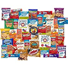 40 Count College Snack Pack - Individually Wrapped Single Serve Goodies - Assortment of Candy, Cookies, Chips, Popcorn, Peanuts, Gum, By The Cup Snack Mix and More