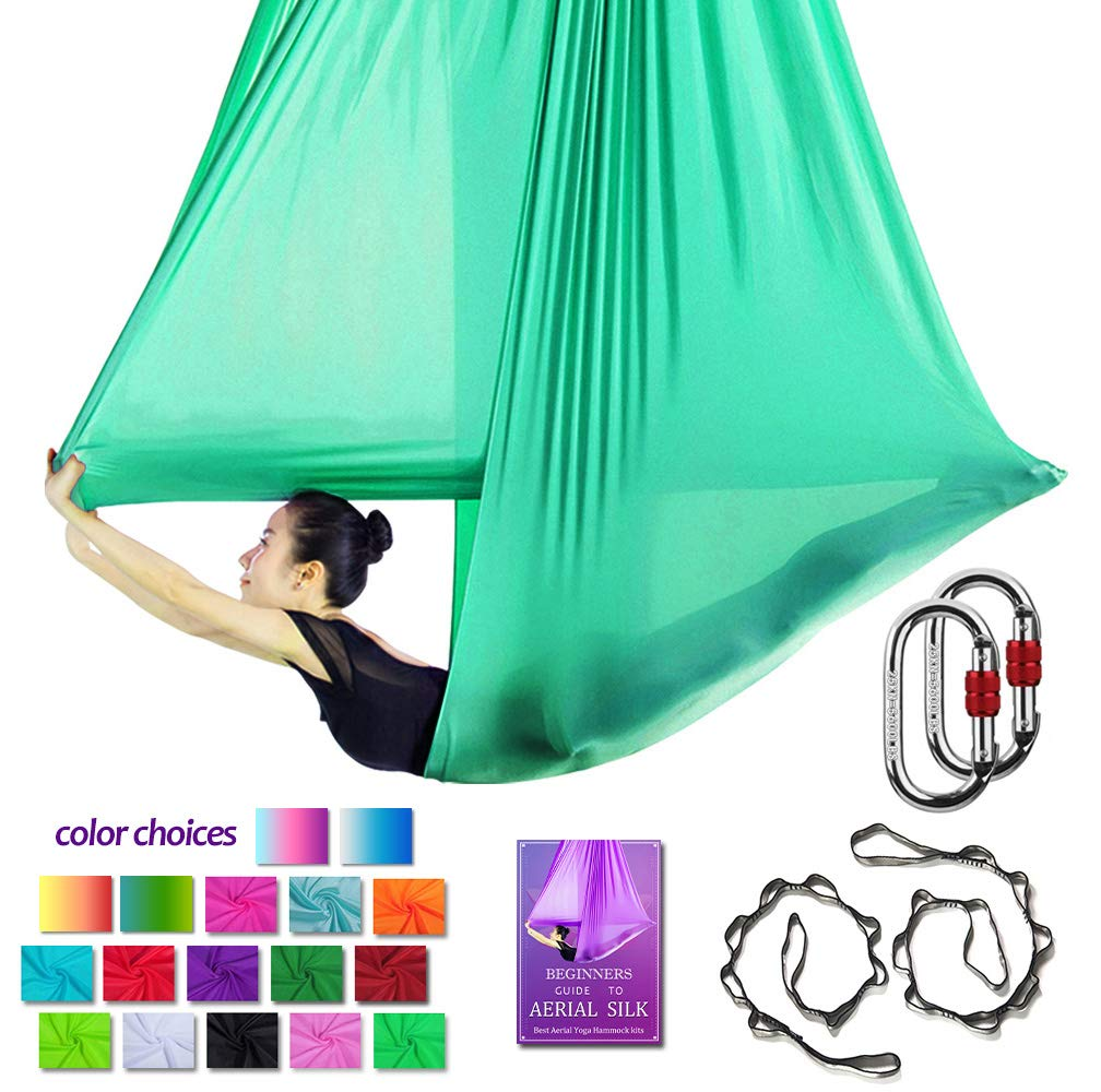 Fruit Green Aerial Yoga Hammock L 5M W 2.8M Aerial Pilates Silk Yoga Swing Set with 2000 Ibs Load Include Carabiner,Daisy Chain, Pose Guide