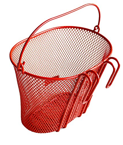 Biria Basket with Hooks RED, Front, Removable, Wire mesh Small Kids Bicycle Basket, RED