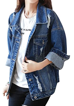 d71b10c8a Yasong Women Girls Loose Fit Long Sleeve Vintage Denim Light Wash Faded  Ripped Boyfriend Jean Jacket: Amazon.co.uk: Clothing