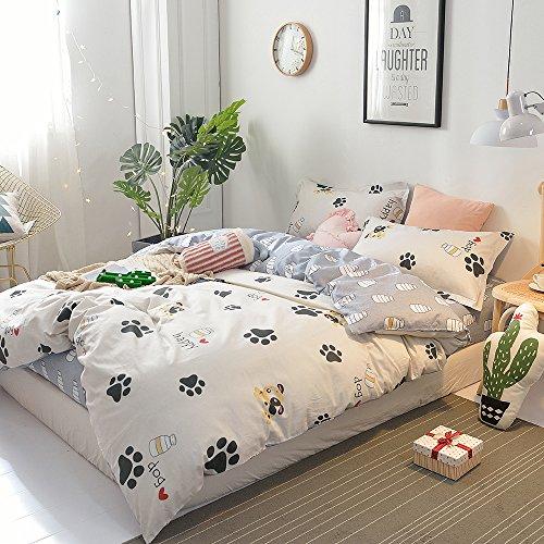 BHUSB Cute Kids Cartoon Cotton Duvet Cover Queen Set Dog Paw Print 3 Piece Animal Bedding Sets Full White Gray Boys Girls Teens Bedding Collection Hidden Zipper,4 Corner Ties by BHUSB (Image #3)