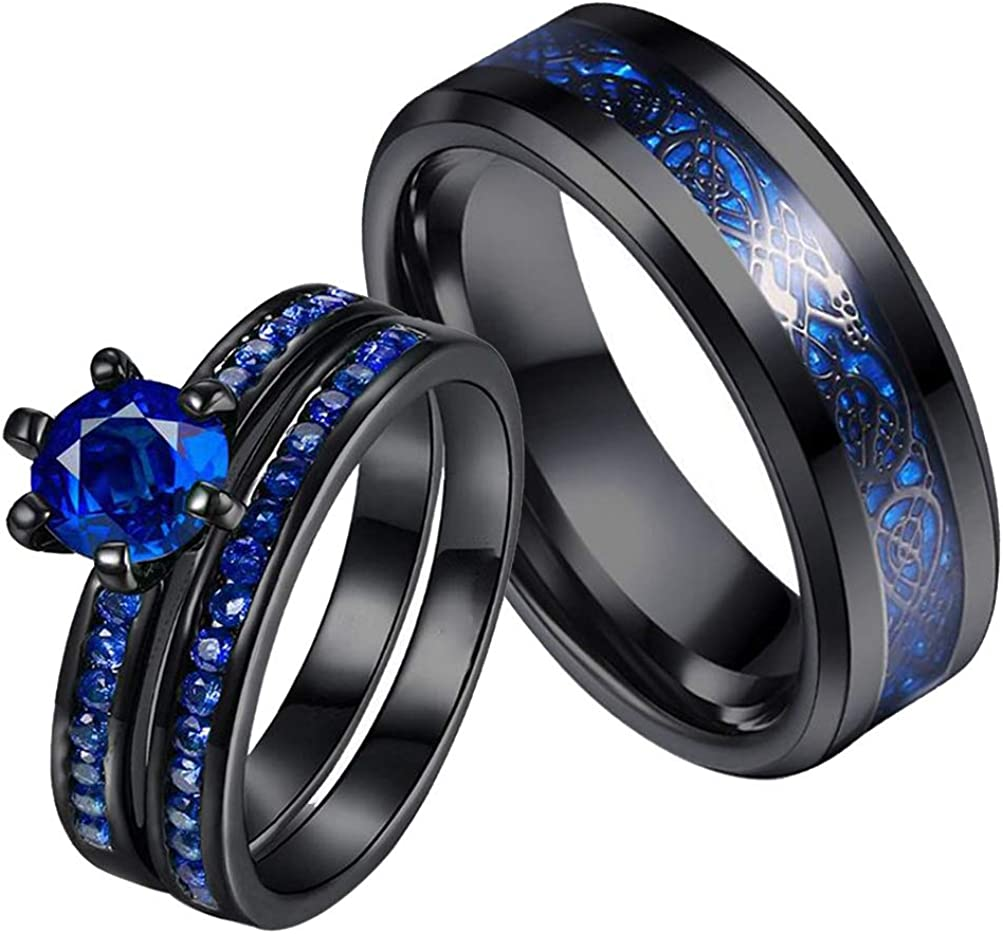 ringheart Couple Rings Black Plated Round Cut Blue Cz Womens Wedding Ring Sets Stainless Steel Men Wedding Band (Please Buy 2 Rings for 1 Pair)