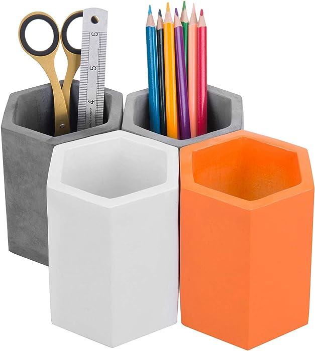 MyGift Modern Hexagonal Multi-Colored Concrete Pen & Pencil Cups, Office Stationary Storage Holders (Black, Gray, White, Orange), Set of 4