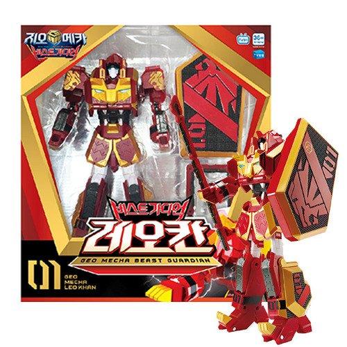 Geo Mecha Beast Guardian Leo Khan Transformer Robot Lion Toy Action Figure