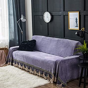 Zzy Funda de sofá de Felpa, Encaje Vintage Suede sofá ...