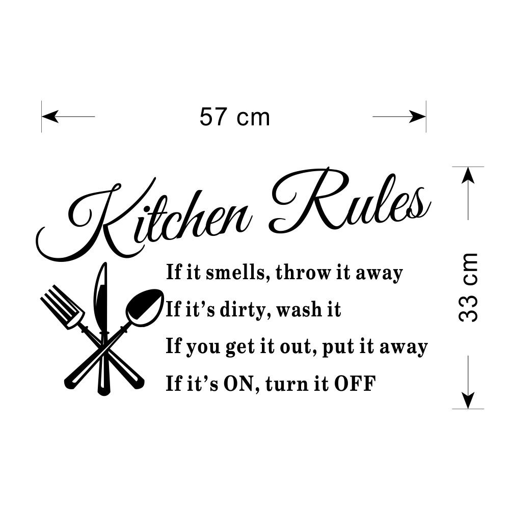 Amazon.com: Dnven 60*40cm Kitchen Rules Knives Forks Spoons Wall Stickers  Removable Waterproof Home Art Decoration Mural Wall Decal Home Decor Kitchen  Room ...