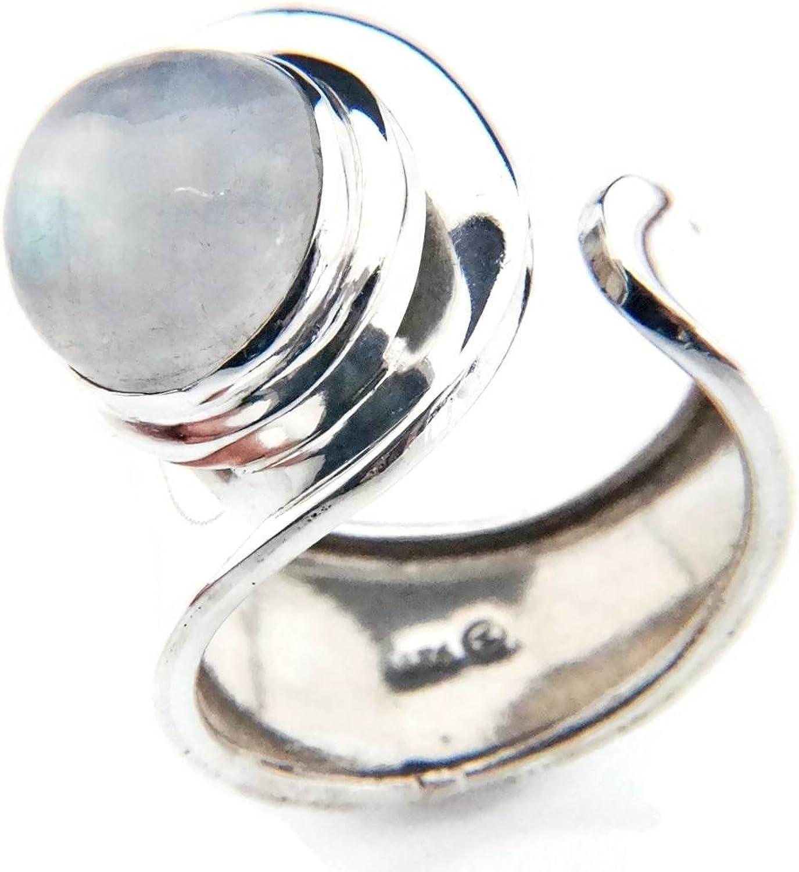 Anillo de plata de ley 925 Piedra de luna verstellbar (No: MRI 62)