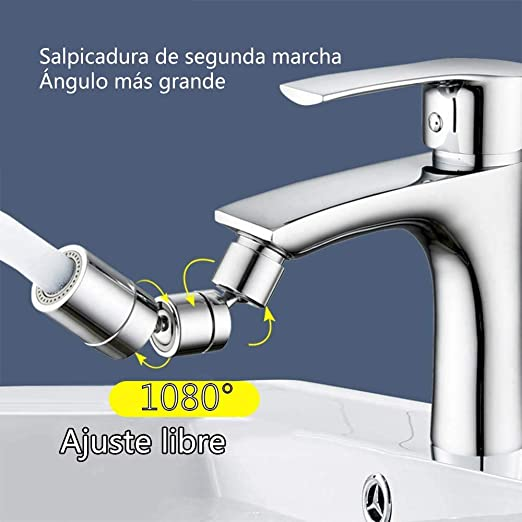 Grifo De Salida De Agua Giratorio De 720 /° M/ás Conveniente Para Lavar La Cara Y Hacer G/árgaras Grifo De Filtro De Salpicaduras Universal