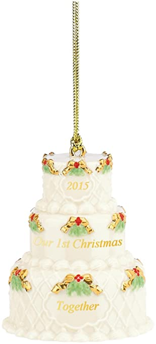 Amazoncom Lenox 2015 Our First Christmas Together Cake Ornament