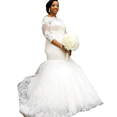 8ba99502f31 Yuxin Elegant Plus Size Wedding Dress 2018 Long Sleeves Appliqued Lace  Mermaid Bridal Gowns Ivory