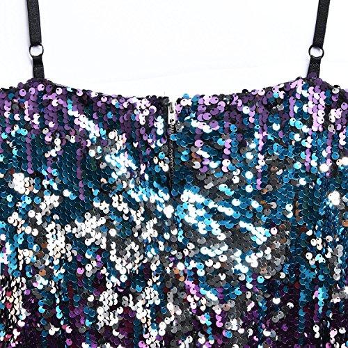 Dresses Stretchy Backless 3 Sexy Sequin Glitter Neck Clubwear Multicoloured V YOLI Womens Dress Mini Bodycon P4zwwq