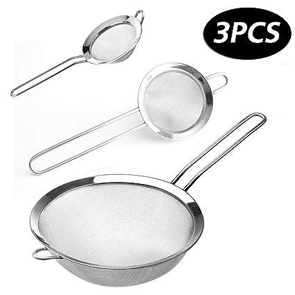Coladores Cocina, innislink Colador de acero inoxidable de calidad premium con manija Colador set 3 Tamaños para alimentos pasta harina vegetales - ...