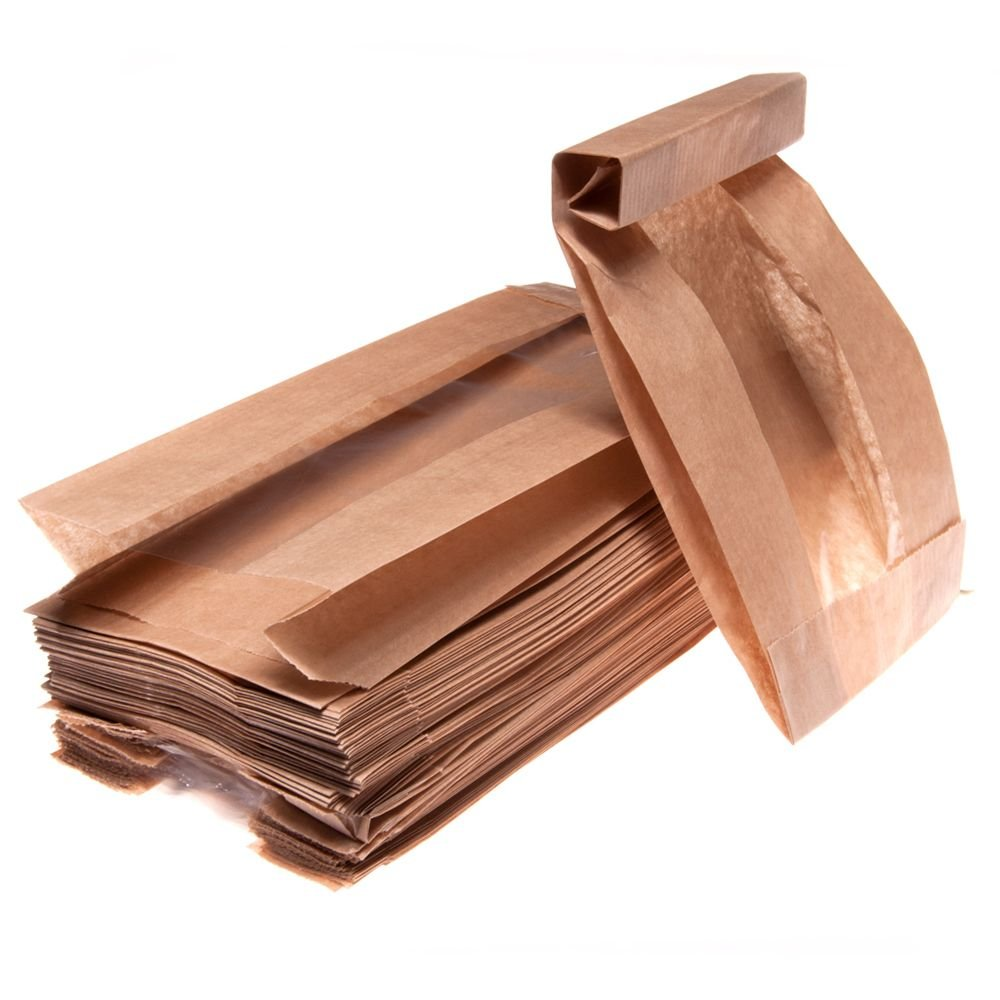 Brown paper bag with window 12+5x24cm, 100pcs/pack