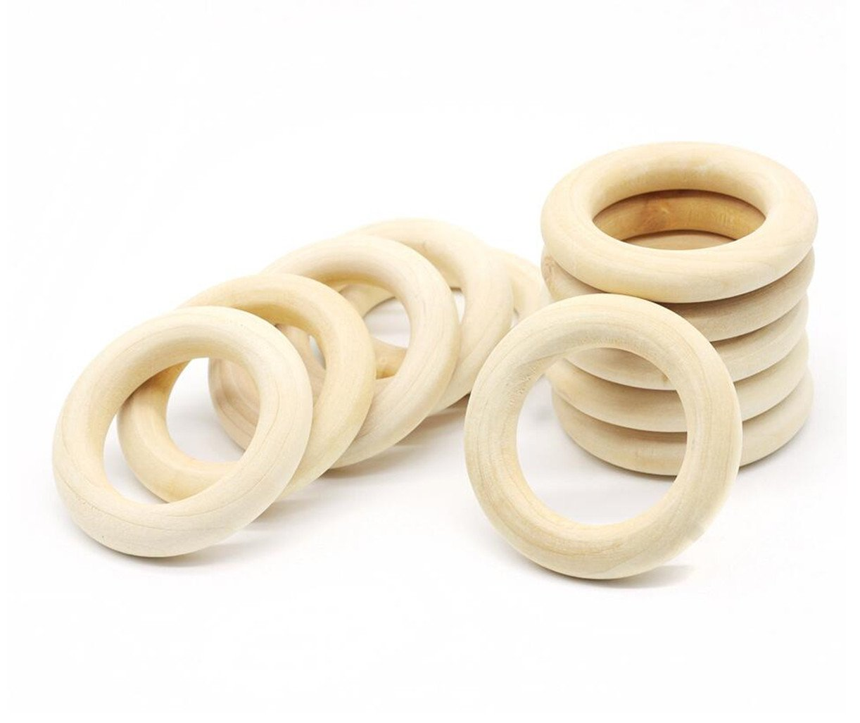 CHENGYIDA 100 Pieces DIY natural round wooden rings, 2.6Inch 65mmmm wooden rings,unfinished teething nursing toy