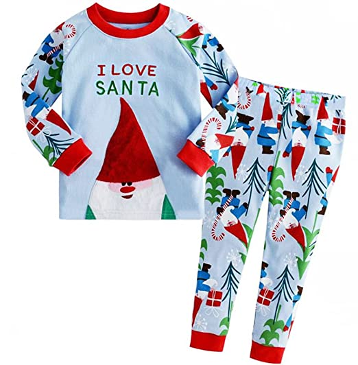 9949050d6a Amazon.com  Baby Boys Girls Santa Christmas Outfits Toddler Pajamas Clothes  Cotton Sleepwear T Shirt Pants Set for Kids  Clothing