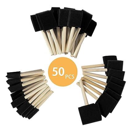 Topeakmart 50 Pcs Foam Paint Brush Set Wood Handles Paint Three Differet Size
