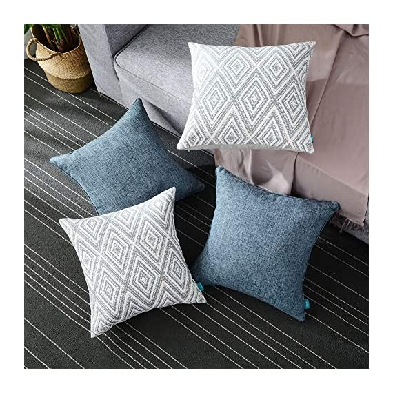 """HPUK Decorative Throw Pillow Covers Set of 4 Geometric Design Linen Cushion Cover for Couch Sofa Living Room, 17""""x17"""" inches, Blue - PACKAGE: 4 pillowcases in total (Cushion pad excluded). 2 puff print cushion covers and 2 textured cushion covers in plain color. These blue decorative pillows are available in a variety of styles for any occasion or festival HIGH-QUALITY MATERIALS: made of polyester, the fabric is durable and thick. This fabric has strong wrinkle resistance, water absorption and abrasion resistance, and good air permeability. It has been certified to international standards and is completely harmless and skin-friendly EXCELLENT WORKMANSHIP: We use new manufacturing techniques to make blue-colored polyester materials. The invisible zipper improves the color of the fabric. It is easy to replace. Very beautiful, and will not fade. It's cold water machine washable, and do not allow to bleach - living-room-soft-furnishings, living-room, decorative-pillows - 61iM5uwPYQL. SS570  -"""