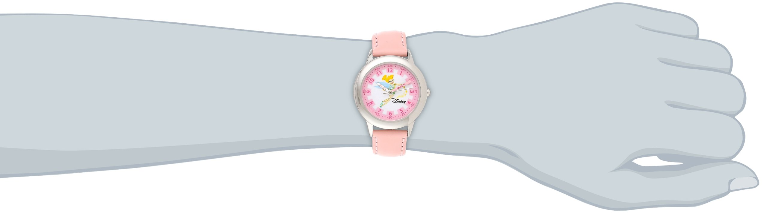 Disney Kids' W000074 ''Tinker Bell Time Teacher'' Stainless Steel Watch with Pink Leather Band by Disney (Image #2)