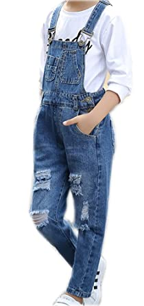 1fa1f179699a Big Kids Girls Long Jumpsuit Denim Light Blue Wide Leg Jumpsuit Romper Jean  Suspender 10-