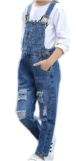 Amazoncom Big Kids Girls Long Jumpsuit Denim Dark Blue Wide Leg