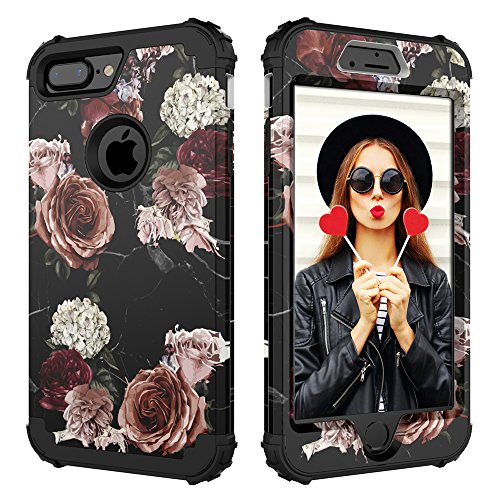 Digital Hutty 3 in 1 Shockproof Heavy Duty Full-Body Protective Cover for Apple iPhone 7 Plus/iPhone 8 Plus, Marble Floweer