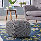 Teresa Knitted Cotton Square Pouf, Light Grey