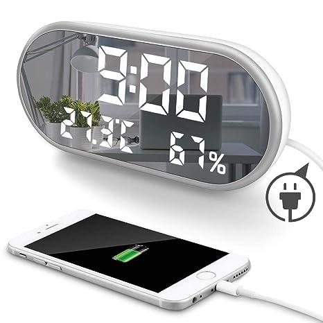 Amazon.com: MOONORN - Reloj despertador con espejo digital ...