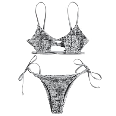 da683bceb3 ZAFUL Women s Spaghetti Strap Keyhole Tie Side Smocked String Bikini Set  (Light Gray