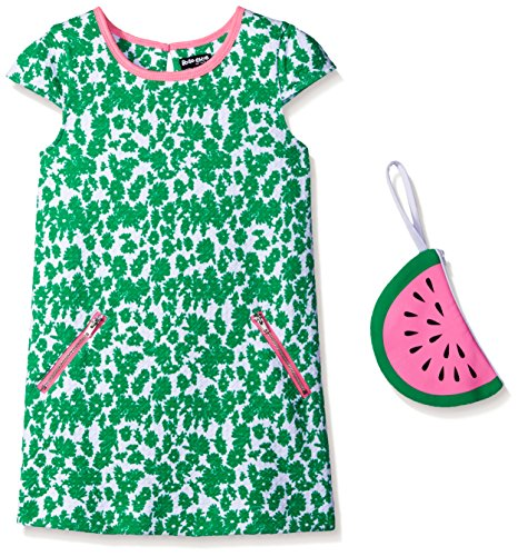 Pogo Club Little Girls Weekend In Newport Printed Textured Knit Dress With Bag Green Medium/5/6 by Pogo Club