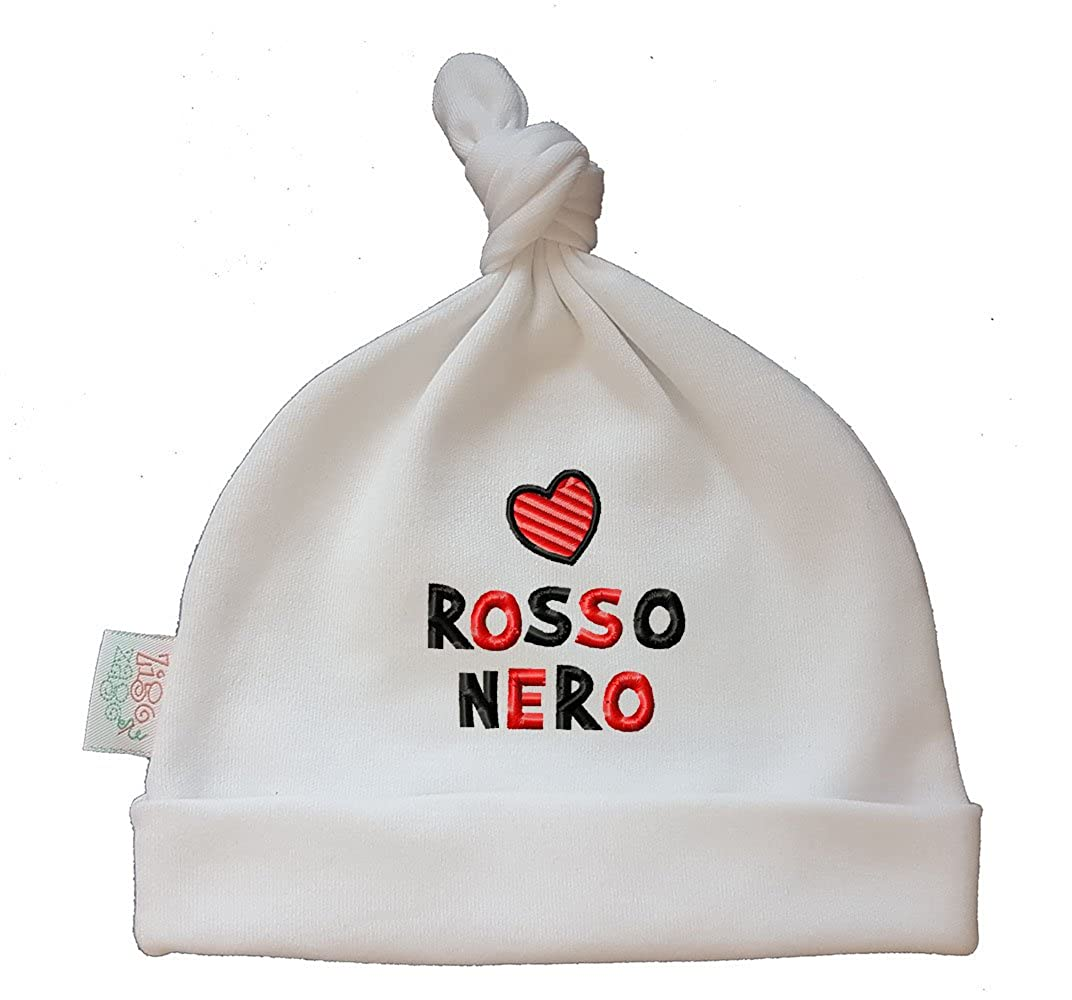 Zigozago - Cappellino cuffia con nodo CUORE ROSSO NERO - Taglia 0-6 mesi