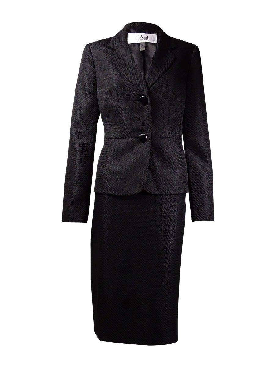 Le Suit Women's 2 Button Novelty Texture Jacket and Skirt Suit Set, Black, 4