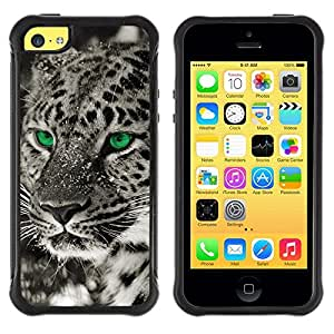 Fuerte Suave TPU GEL Caso Carcasa de Protección Funda para Apple Iphone 5C / Business Style Eyes Black White Photo Leopard Winter
